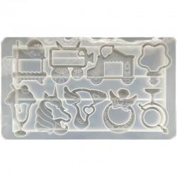Forma do żywicy forma silikonowa do odlewów 230x137mm zabawki mix