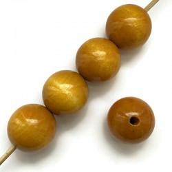 Koraliki drewniane lakierowane 25mm żółte