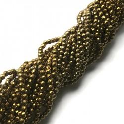 Hematyt kulka 2mm fasetowany złoty sznurek