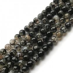 Agat kulka 10mm czarno-biały sznurek