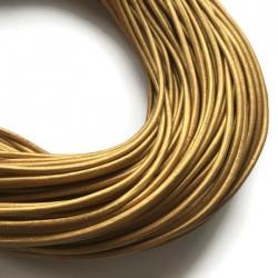 Rzemień skórzany naturalny okrągły 3mm metalik złoty