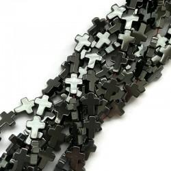 Hematyt krzyżyk gładki 10x8x3mm sznurek czarny