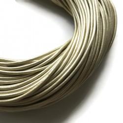 Rzemień skórzany naturalny okrągły 3mm metalik beż