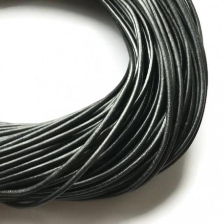 Rzemień skórzany naturalny okrągły 3mm metalik ciemno szary
