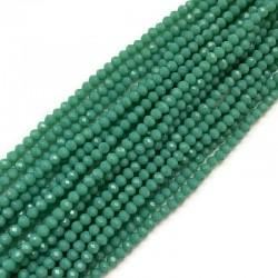 Szkło fasetowane oponka 4x3mm sznur zielony