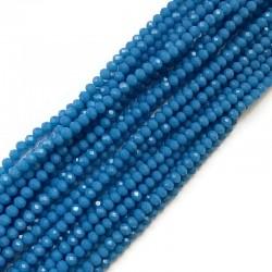Szkło fasetowane oponka 4x3mm sznur niebieski