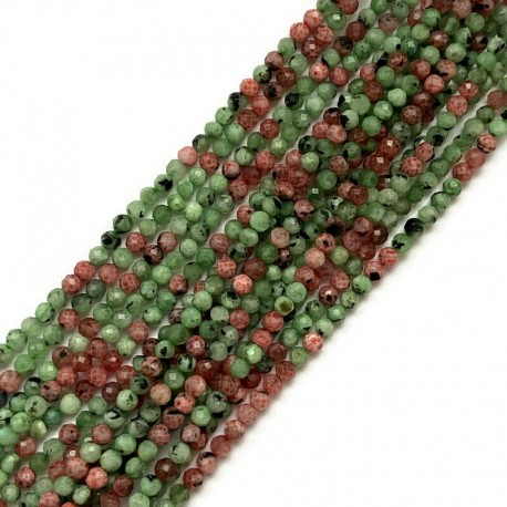 Rubin z zoizytem kulka fasetowana 3,5mm sznurek