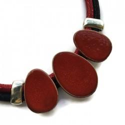 Naszyjnik z ceramiki OWAL czerwony