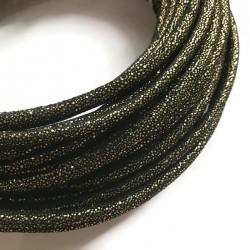 Rzemień szyty welurowy 6x7mm-brokat ciemno złoty