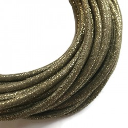 Rzemień szyty welurowy 6x7mm-brokat złoty
