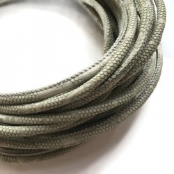 Rzemień szyty 6x7mm-wężowy szary
