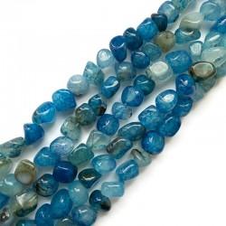 Agat bryłka 7-11mm sznurek niebieski mix
