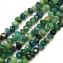 Agat bryłka 7-11mm sznurek zielony mix