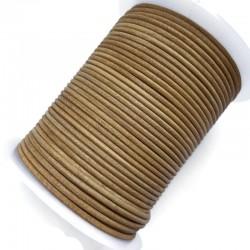 Rzemień naturalny okrągły indyjski 2mm Tan