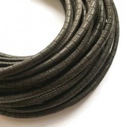 Rzemień szyty 6x7mm-wężowy brązowy