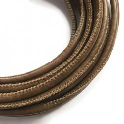 Rzemień szyty 6x7mm-brązowy
