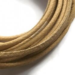 Rzemień szyty 6x7mm-wężowy musztardowy