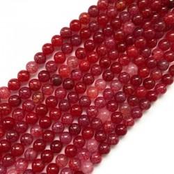 Agat kulka gładka 8mm czerwony sznurek