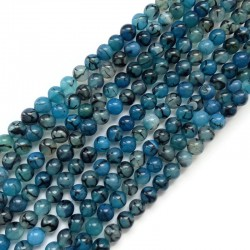 Agat kulka gładka 8mm niebieski sznurek