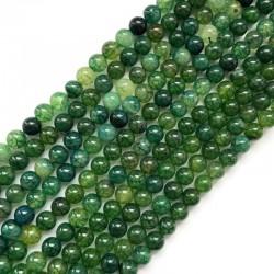 Agat kulka gładka 8mm zielony sznurek