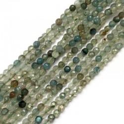 Agat kulka fasetowana 4mm jasno zielony sznurek