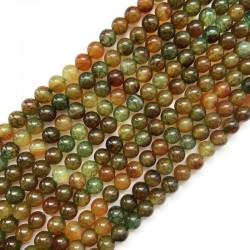 Agat kulka gładka 8mm zielono-brązowy sznurek