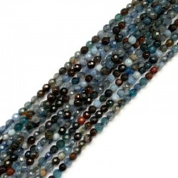 Agat kulka fasetowana 4mm niebieski sznurek