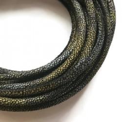 Rzemień szyty 6x7mm-wężowy zielono-szary