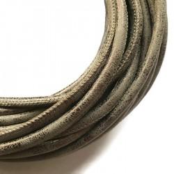 Rzemień szyty 6x7mm-przecierany brązowy