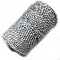Sznurek Bawełniany Skręcany Makrama 3mm-200 m Szaro-biały