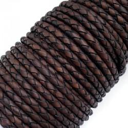 Rzemień naturalny pleciony 4mm - Antique Dark Brown