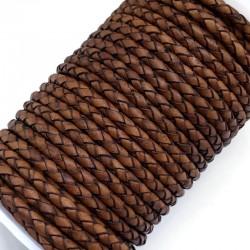 Rzemień naturalny pleciony 4mm - Antique Medium Brown
