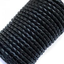 Rzemień naturalny pleciony 4mm - Czarny