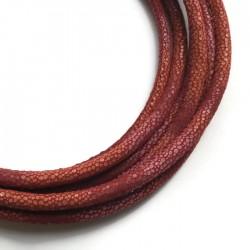 Rzemień szyty 6x7mm-wężowy czerwono-pomarańczowy