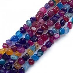 Agat bryłka  7~9x6~9x6~10mm sznurek mix kolorów