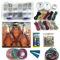 Zestaw do robienia biżuterii profesjonalny, dużo elementów, zestaw craftowy