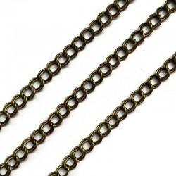 Łańcuszek metalowy podwójny 5x5x1mm stare złoto