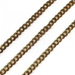 Łańcuszek metalowy podwójny 5x5x1mm złoty
