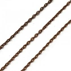 Łańcuszek metalowy owal 3x2x0,6mm miedź