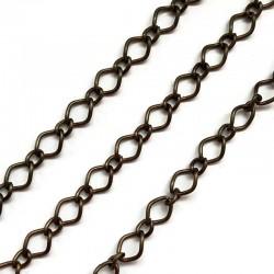 Łańcuszek metalowy romb 10x8x1mm i 5x4x1mm miedź