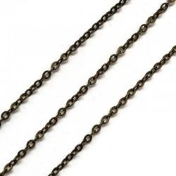 Łańcuszek metalowy owal 2x2x0,5mm stare złoto