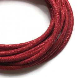 Rzemień szyty welurowy 6x7mm-brokat czerwony