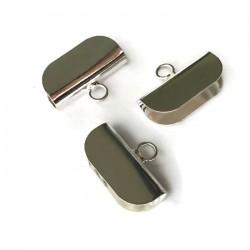 Krawatka szeroka języczek z kółeczkiem kolor srebrny PL