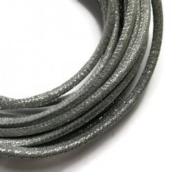Rzemień szyty welurowy 6x7mm-brokat szary