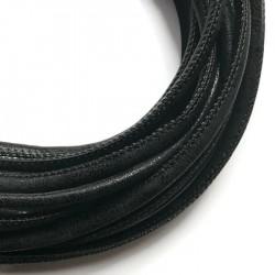Rzemień szyty 6x7mm-przecierany czarny