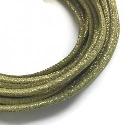 Rzemień szyty welurowy 6x7mm-brokat zielony