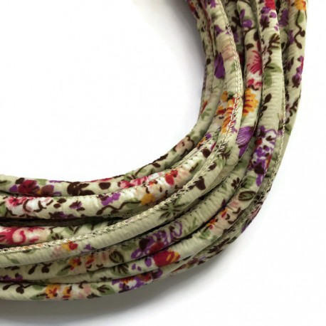 Rzemień szyty 6x7mm - materiałowy kwiatki ecru