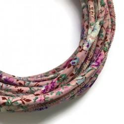 Rzemień szyty 6x7mm - materiałowy kwiatki róż