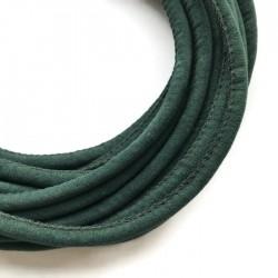 Rzemień szyty welurowy 6x7mm-gładki ciemno zielony