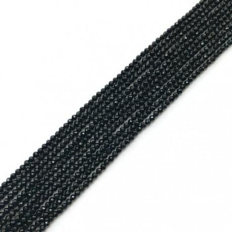 Spinel kulka fasetowana 2mm czarny sznurek